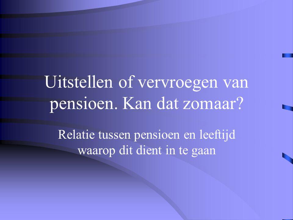 Uitstellen of vervroegen van pensioen. Kan dat zomaar