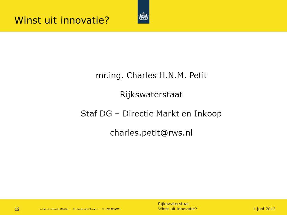 Winst uit innovatie mr.ing. Charles H.N.M. Petit Rijkswaterstaat