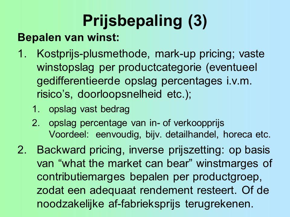 Prijsbepaling (3) Bepalen van winst: