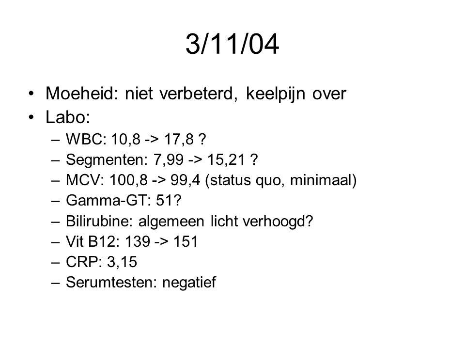 3/11/04 Moeheid: niet verbeterd, keelpijn over Labo: