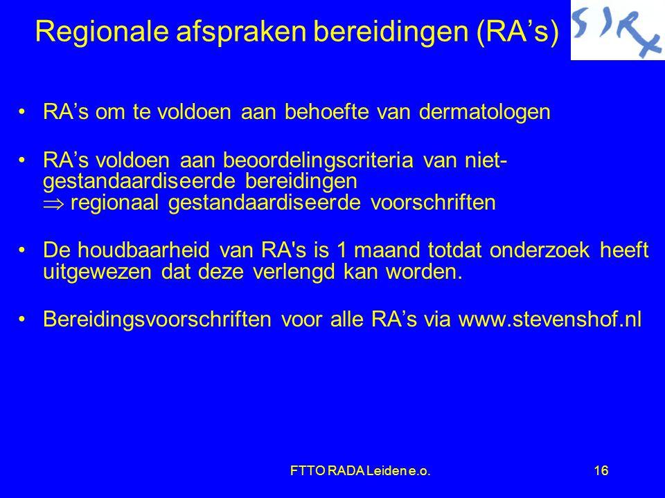 Regionale afspraken bereidingen (RA's)