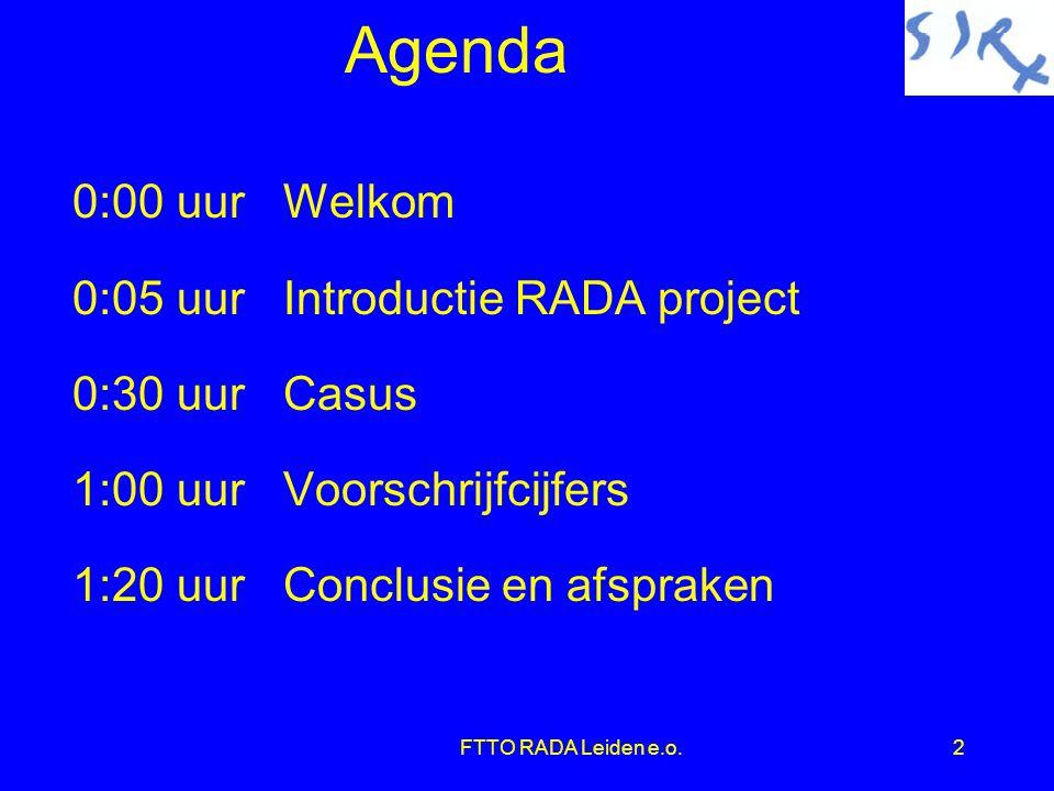 Agenda 0:00 uur Welkom 0:05 uur Introductie RADA project