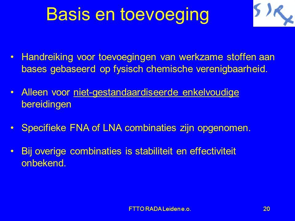 Basis en toevoeging Handreiking voor toevoegingen van werkzame stoffen aan bases gebaseerd op fysisch chemische verenigbaarheid.