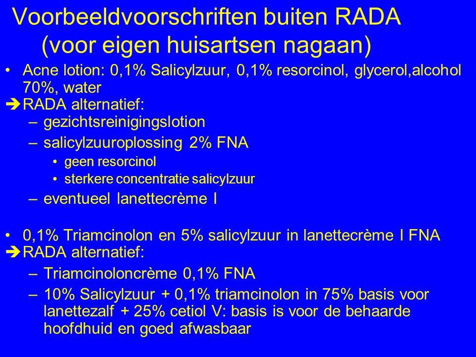 Voorbeeldvoorschriften buiten RADA (voor eigen huisartsen nagaan)