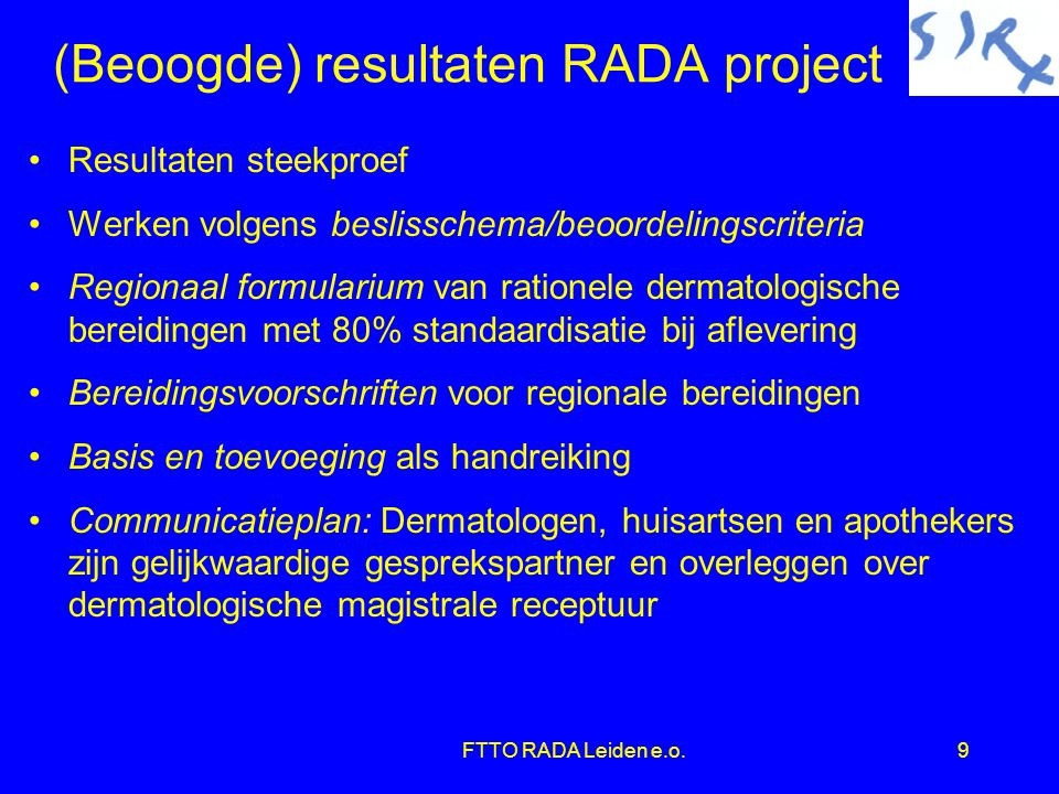 (Beoogde) resultaten RADA project