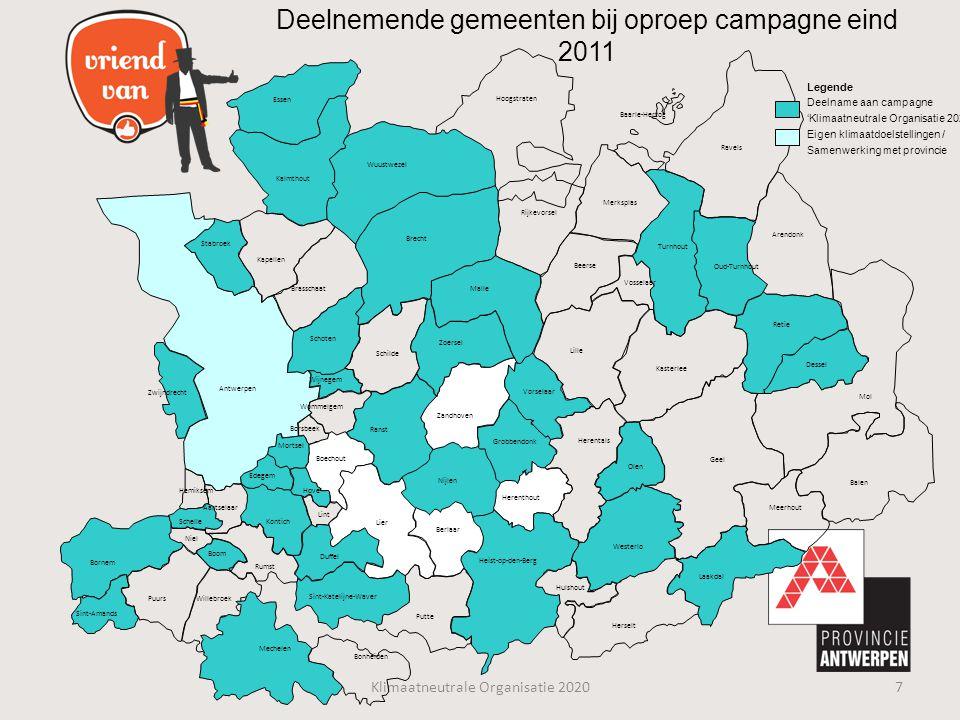 Deelnemende gemeenten bij oproep campagne eind 2011