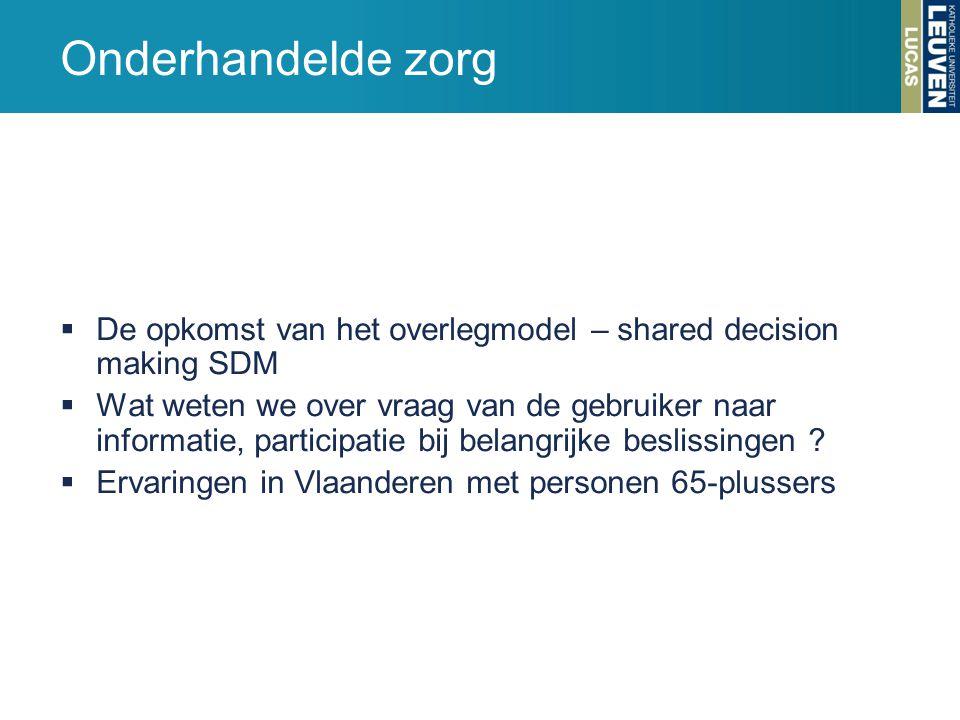 Onderhandelde zorg De opkomst van het overlegmodel – shared decision making SDM.