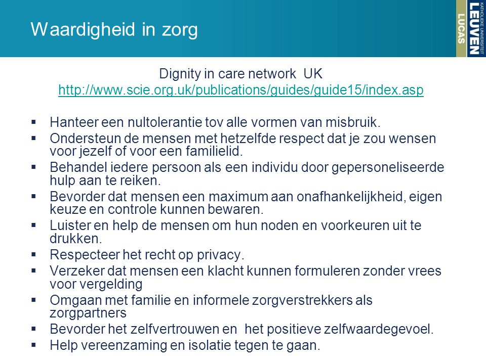 Dignity in care network UK