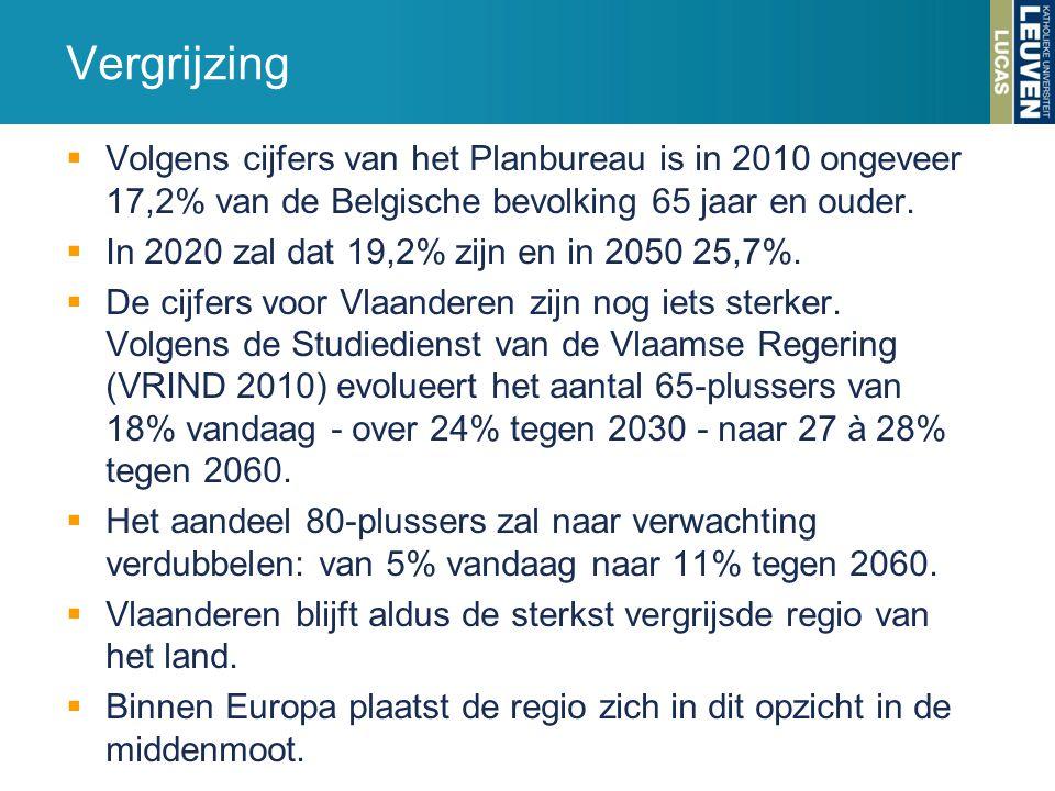 Vergrijzing Volgens cijfers van het Planbureau is in 2010 ongeveer 17,2% van de Belgische bevolking 65 jaar en ouder.
