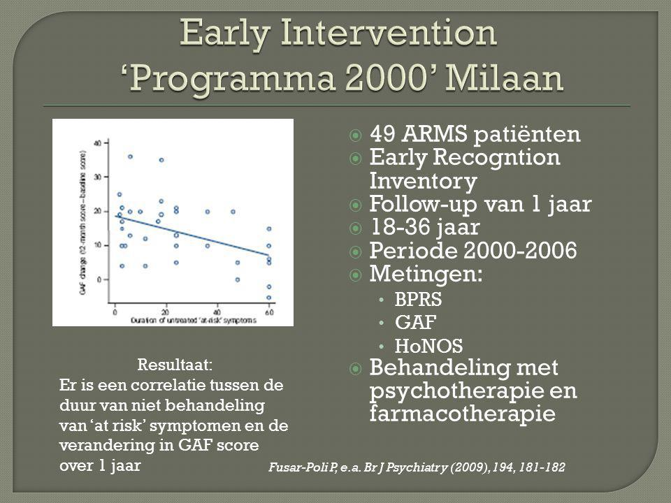 Early Intervention 'Programma 2000' Milaan