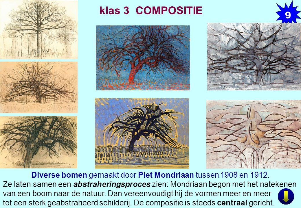 Diverse bomen gemaakt door Piet Mondriaan tussen 1908 en 1912.