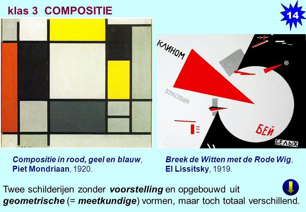 14 klas 3 COMPOSITIE. LINKS. Compositie in rood, geel en blauw, Piet Mondriaan, 1920. Olieverf op doek, xx x xx cm.