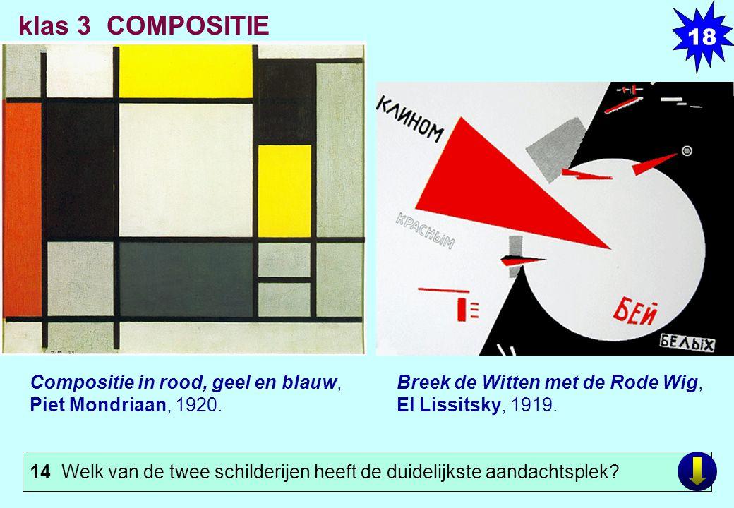 18 klas 3 COMPOSITIE. LINKS. Compositie in rood, geel en blauw, Piet Mondriaan, 1920. Olieverf op doek, xx x xx cm.