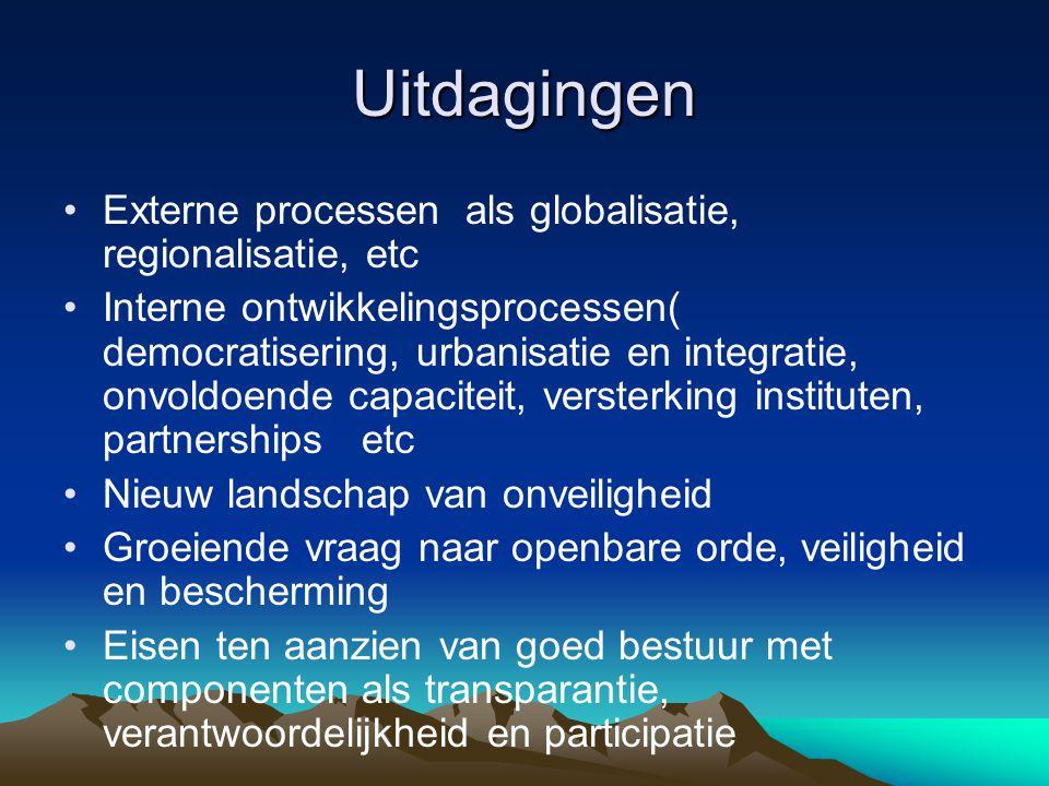 Uitdagingen Externe processen als globalisatie, regionalisatie, etc