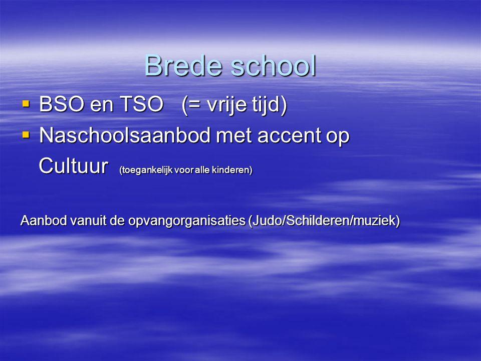 Brede school BSO en TSO (= vrije tijd) Naschoolsaanbod met accent op