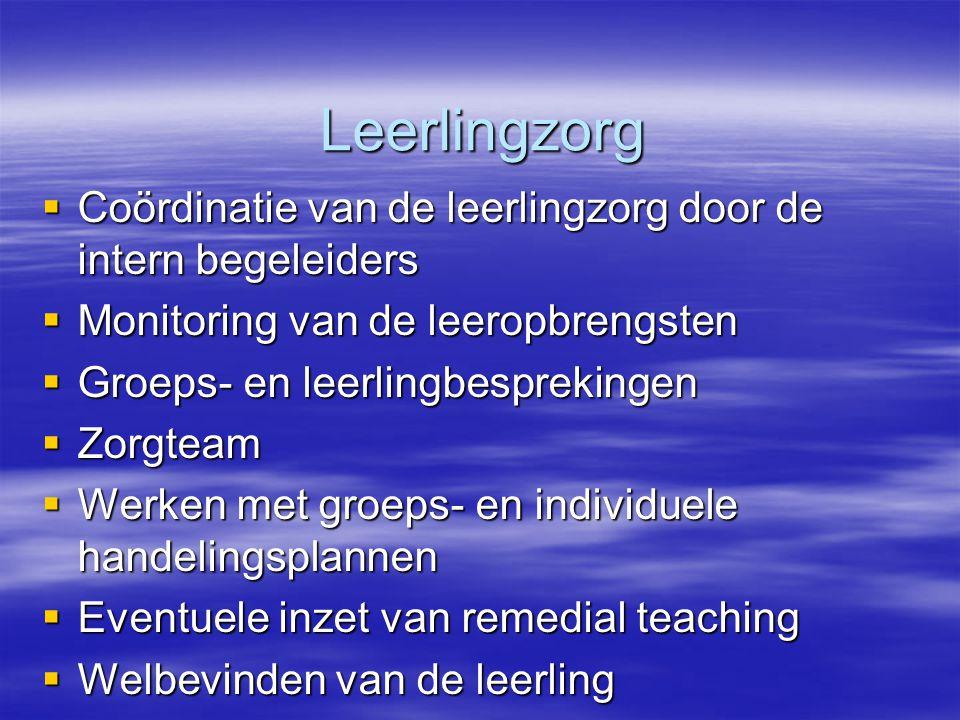 Leerlingzorg Coördinatie van de leerlingzorg door de intern begeleiders. Monitoring van de leeropbrengsten.