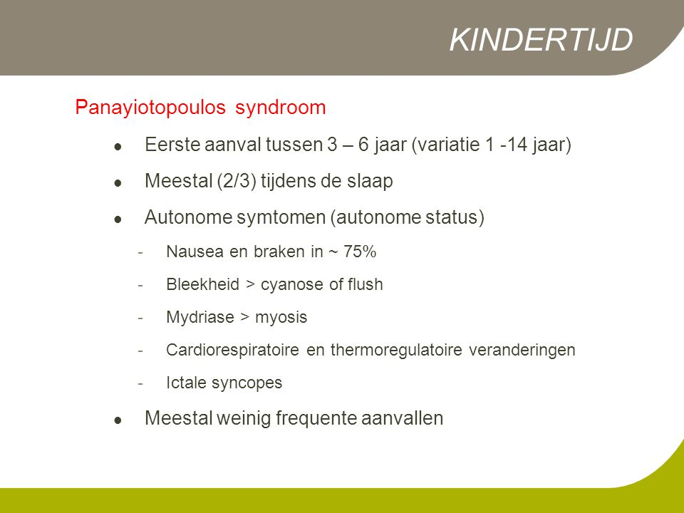 KINDERTIJD Panayiotopoulos syndroom
