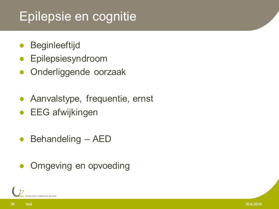 Epilepsie en cognitie Beginleeftijd Epilepsiesyndroom