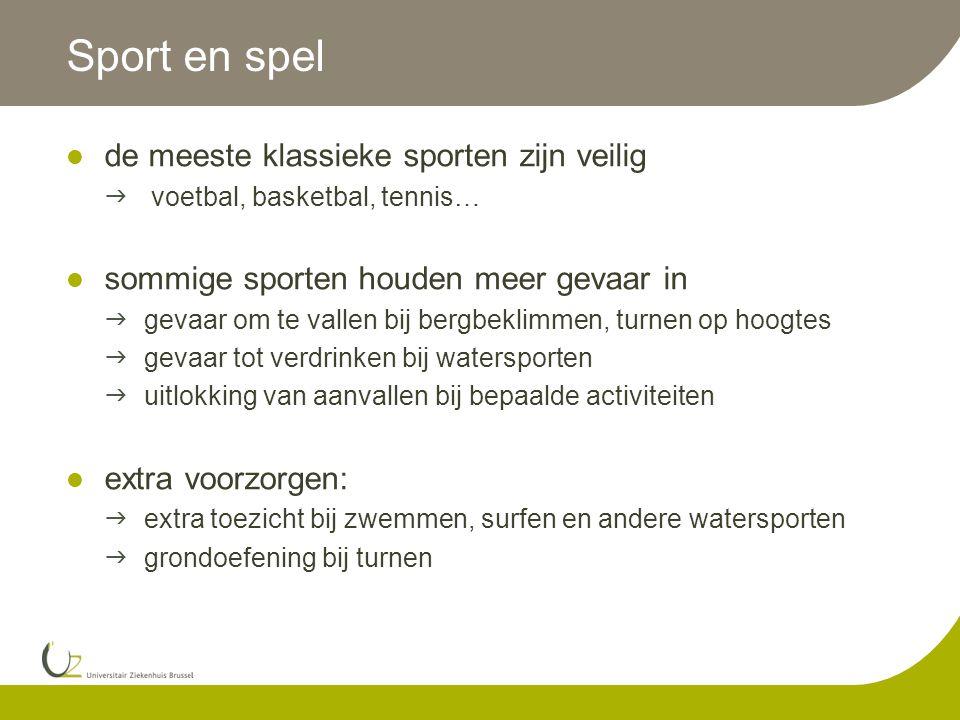 Sport en spel de meeste klassieke sporten zijn veilig