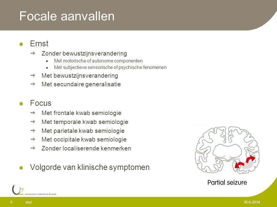 Focale aanvallen Ernst Focus Volgorde van klinische symptomen