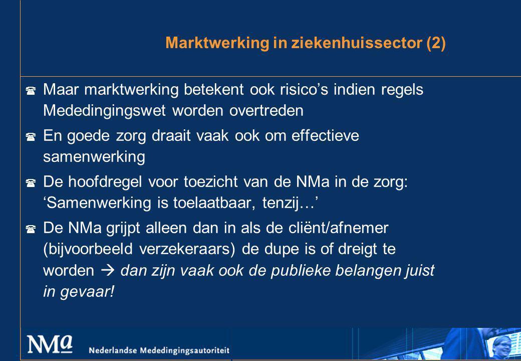 Marktwerking in ziekenhuissector (2)