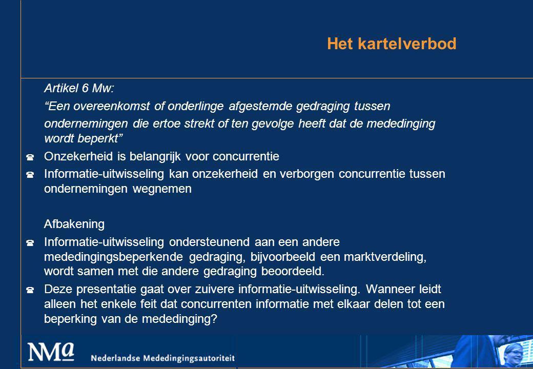 Het kartelverbod Artikel 6 Mw: