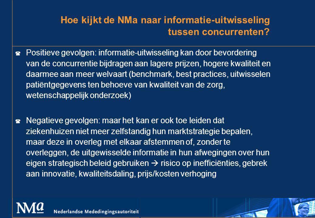 Hoe kijkt de NMa naar informatie-uitwisseling tussen concurrenten