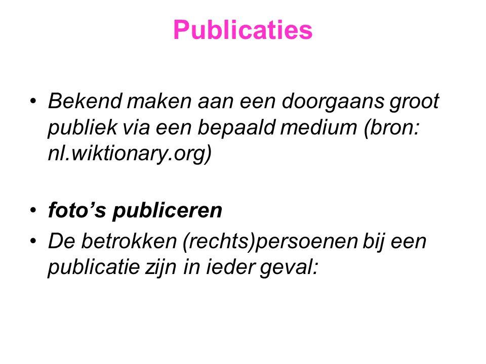 Publicaties Bekend maken aan een doorgaans groot publiek via een bepaald medium (bron: nl.wiktionary.org)