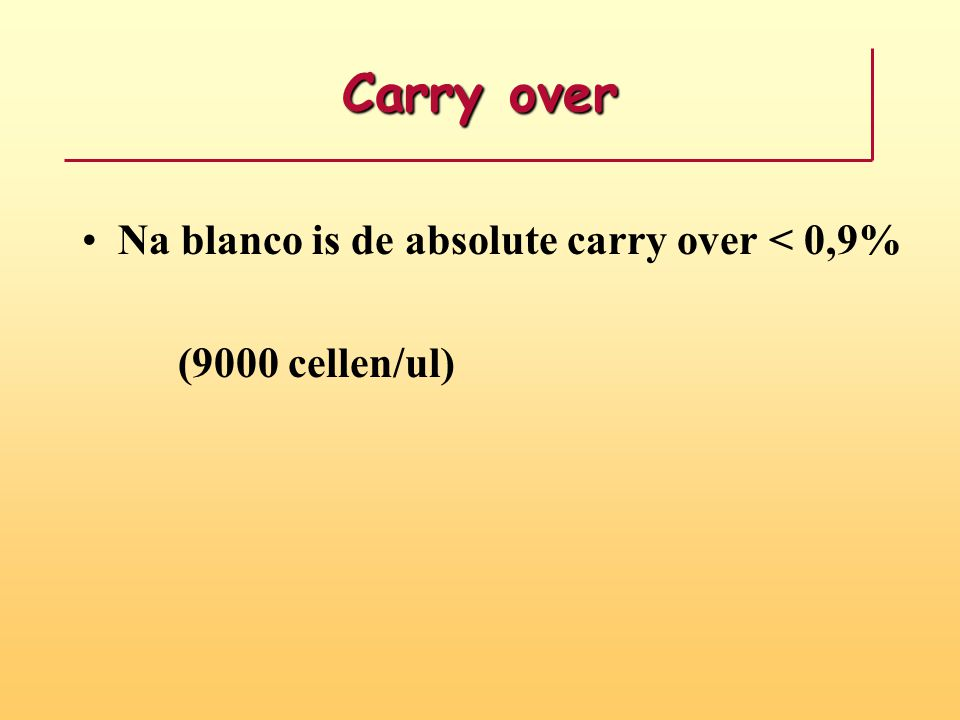 Carry over Na blanco is de absolute carry over < 0,9%