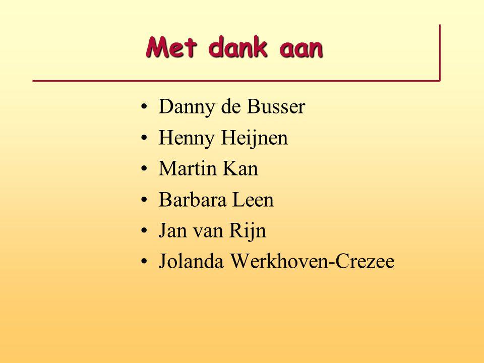 Met dank aan Danny de Busser Henny Heijnen Martin Kan Barbara Leen