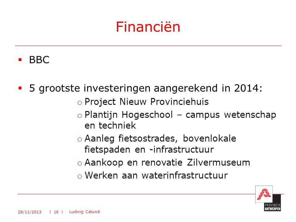 Financiën BBC 5 grootste investeringen aangerekend in 2014: