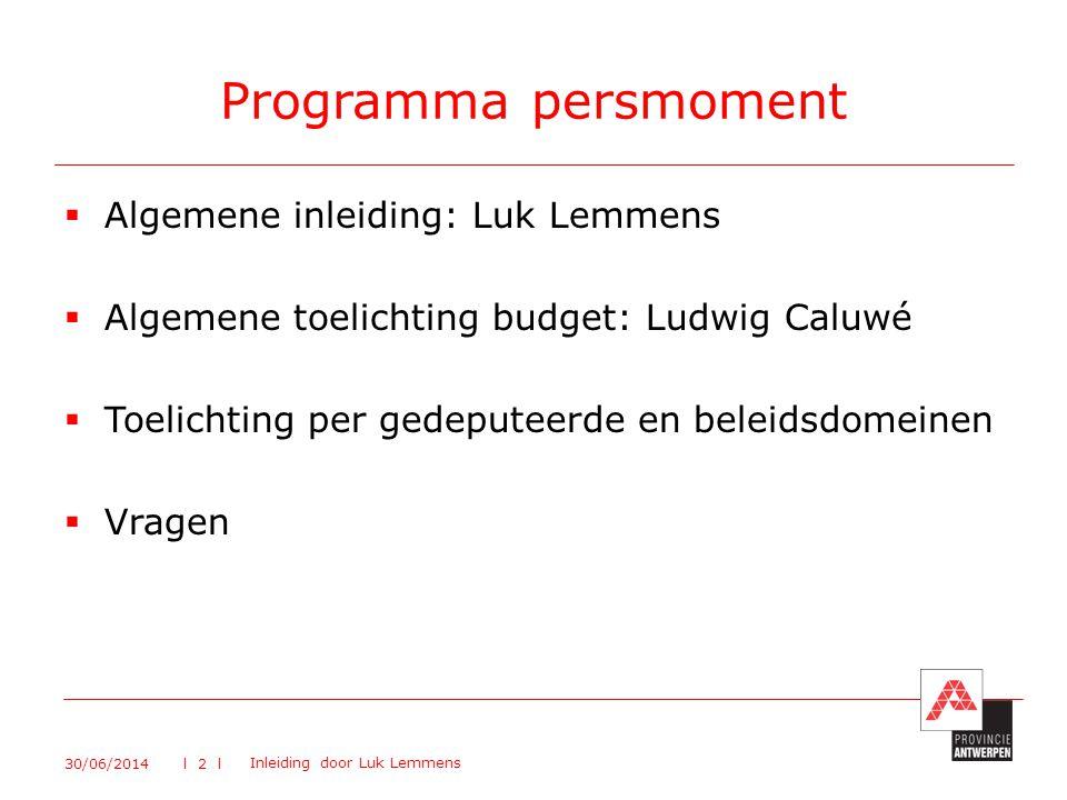 Programma persmoment Algemene inleiding: Luk Lemmens