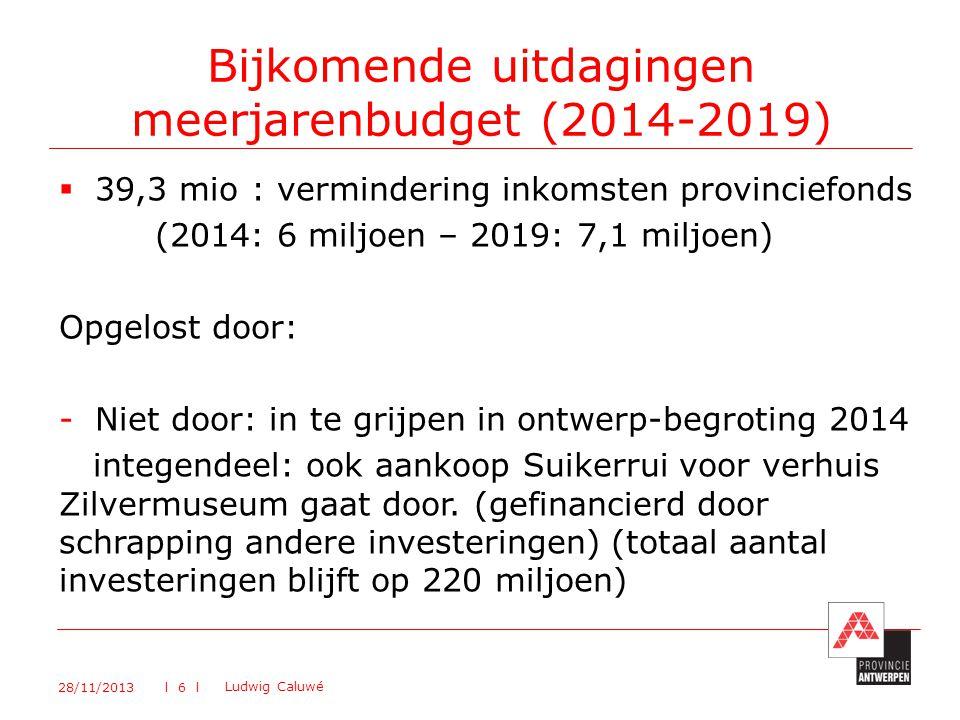 Bijkomende uitdagingen meerjarenbudget (2014-2019)