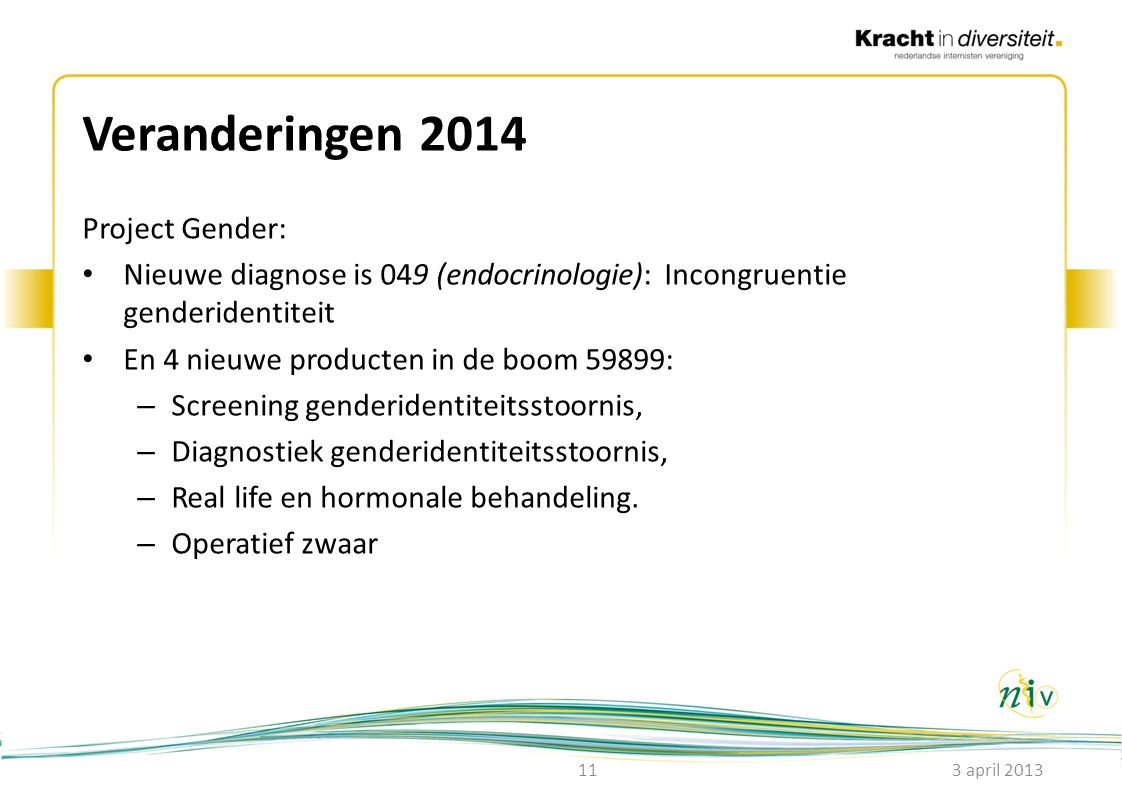 Veranderingen 2014 Project Gender: