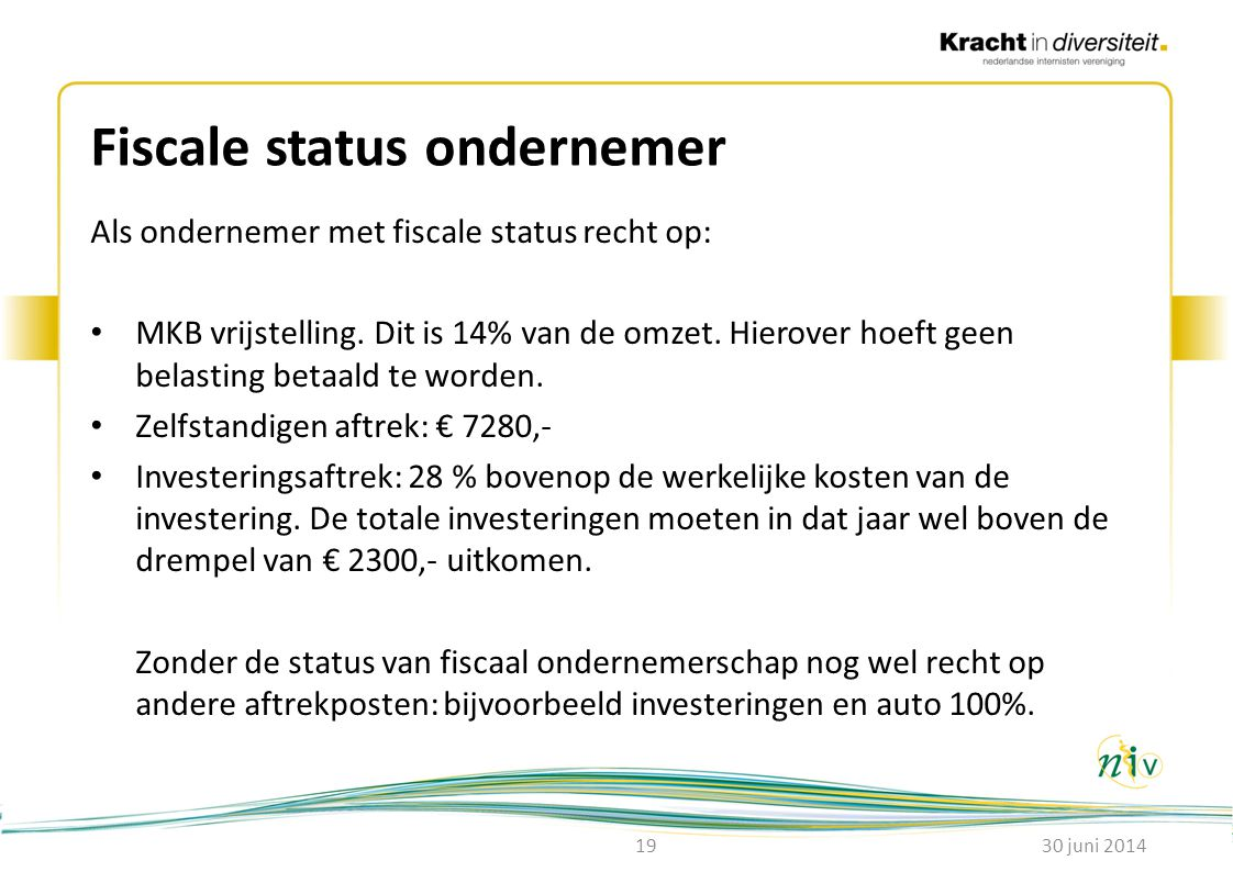 Fiscale status ondernemer
