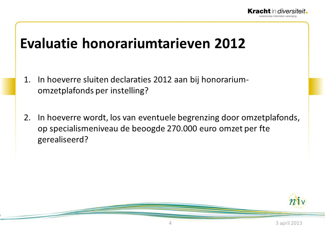 Evaluatie honorariumtarieven 2012