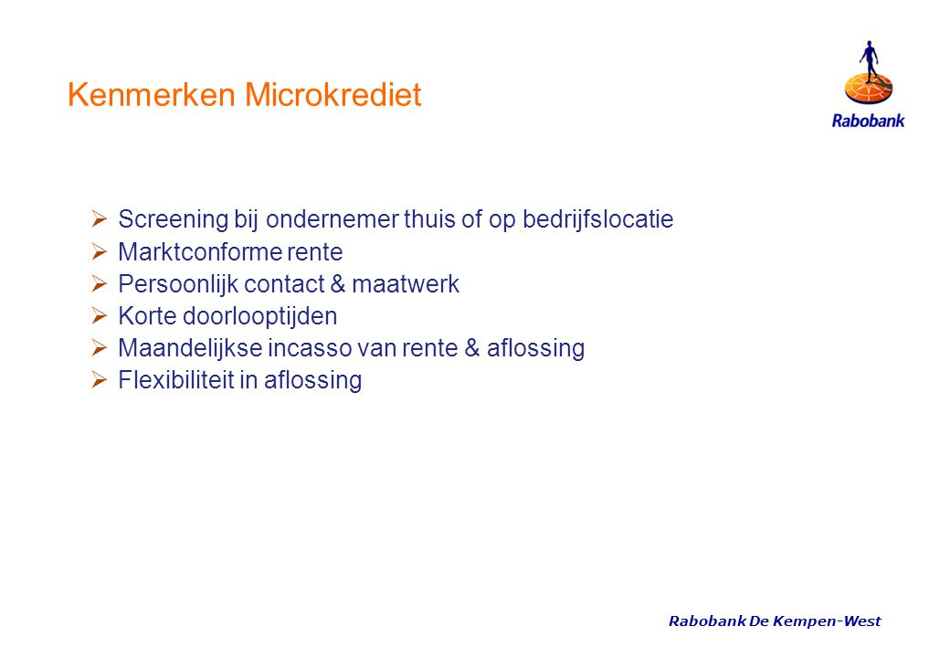 Kenmerken Microkrediet