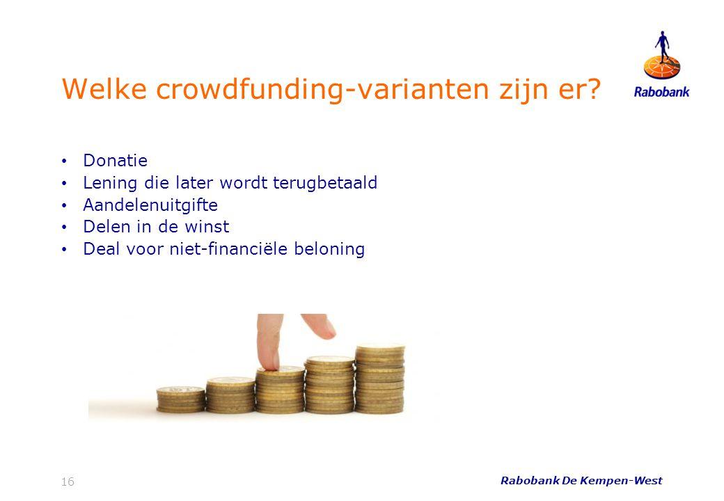 Welke crowdfunding-varianten zijn er