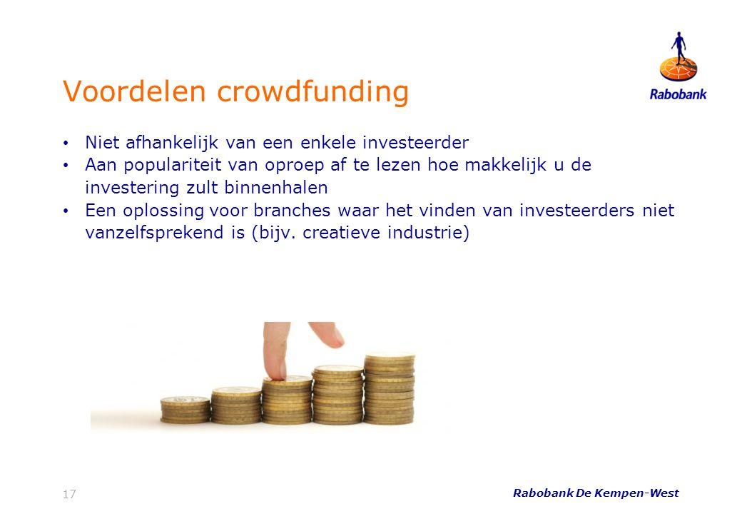 Voordelen crowdfunding