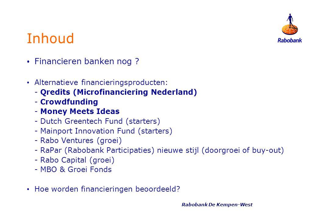 Inhoud Financieren banken nog