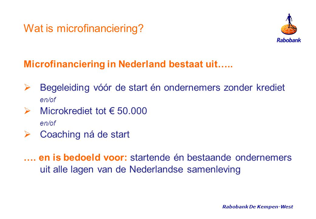 Wat is microfinanciering