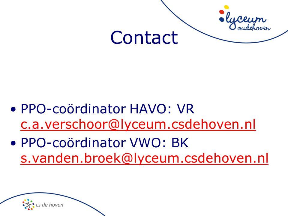 Contact PPO-coördinator HAVO: VR c.a.verschoor@lyceum.csdehoven.nl