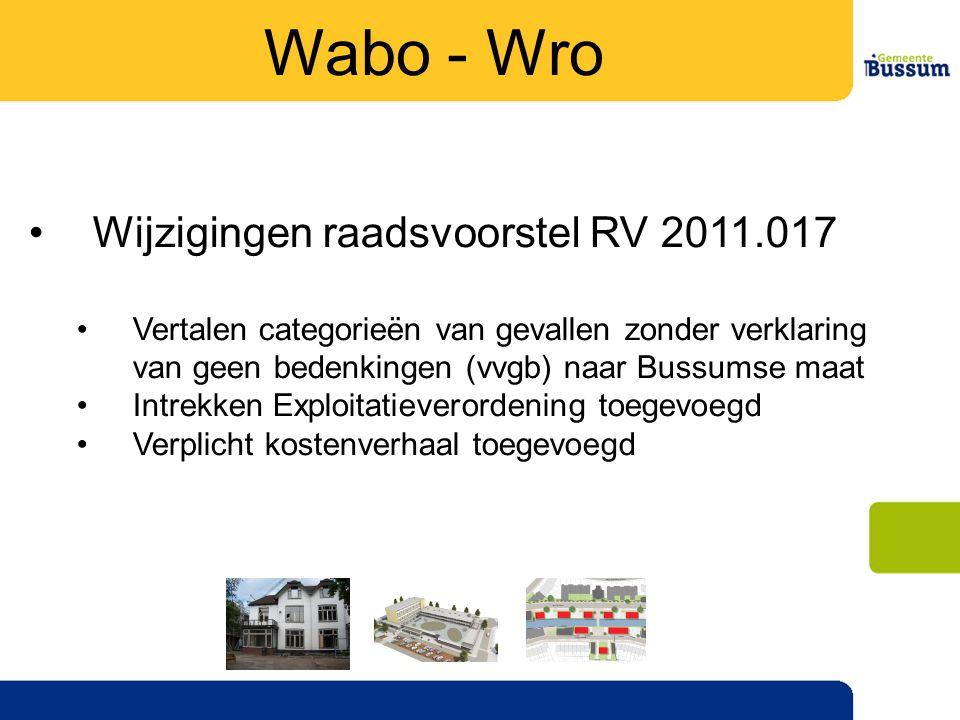 Wabo - Wro Wijzigingen raadsvoorstel RV 2011.017