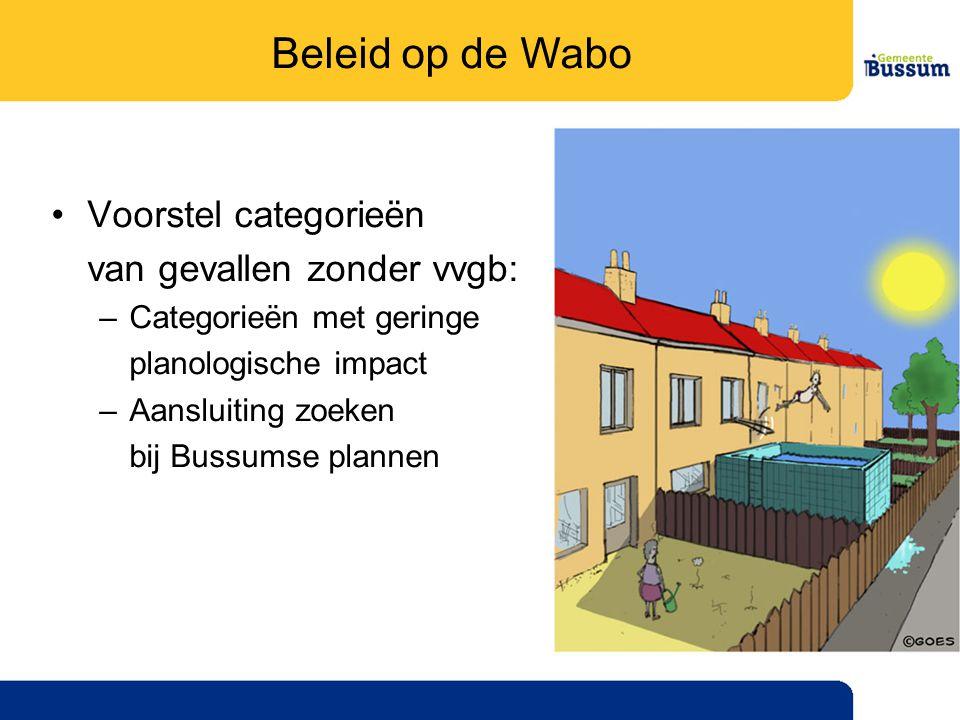 Beleid op de Wabo Voorstel categorieën van gevallen zonder vvgb:
