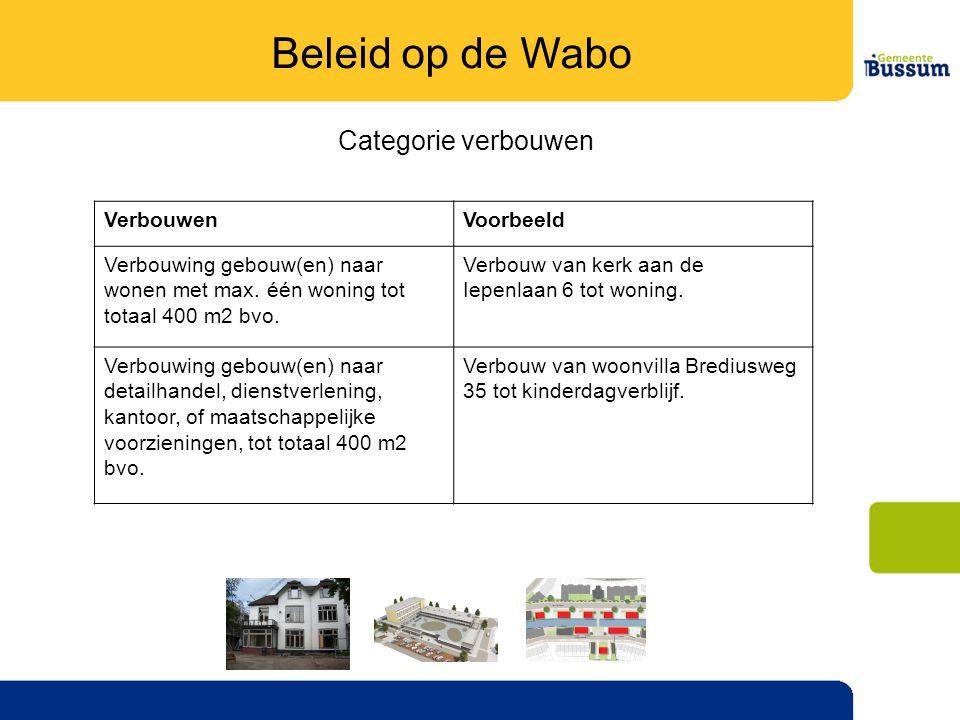 Beleid op de Wabo Categorie verbouwen Verbouwen Voorbeeld