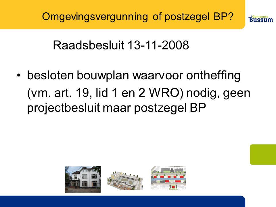 Omgevingsvergunning of postzegel BP