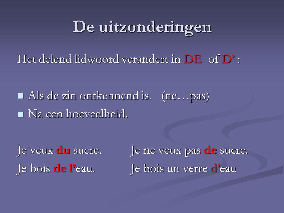 De uitzonderingen Het delend lidwoord verandert in DE of D' :
