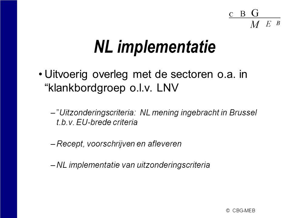 NL implementatie Uitvoerig overleg met de sectoren o.a. in klankbordgroep o.l.v. LNV.