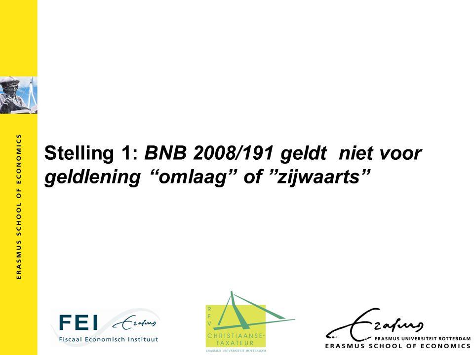 Stelling 1: BNB 2008/191 geldt niet voor geldlening omlaag of zijwaarts