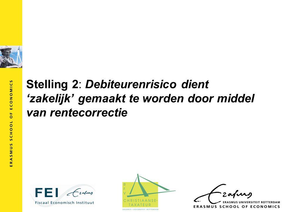 Stelling 2: Debiteurenrisico dient 'zakelijk' gemaakt te worden door middel van rentecorrectie